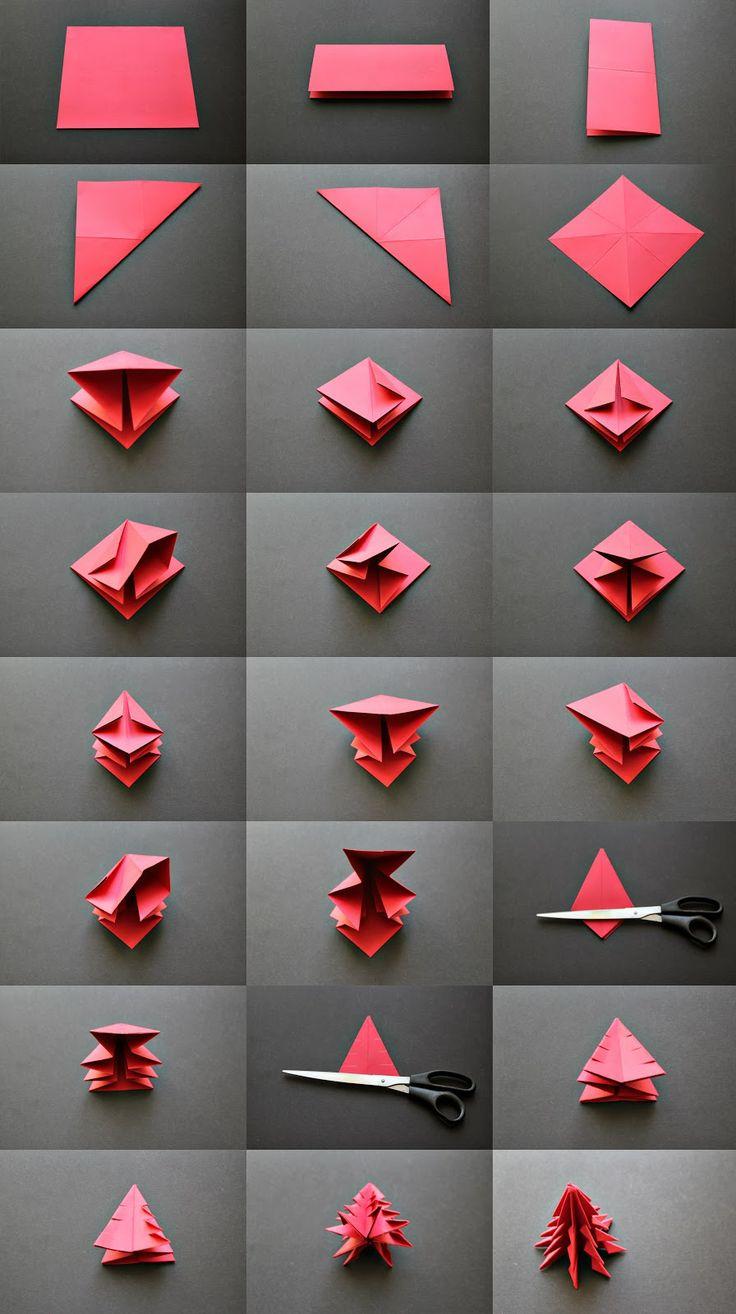 origami kaledinė eglutė