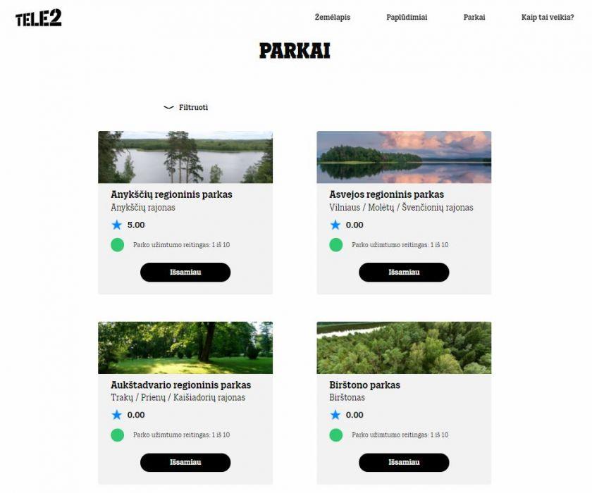 """Pirmasis Lietuvoje """"Tele2"""" paplūdimių užimtumo žemėlapis papildytas parkais"""