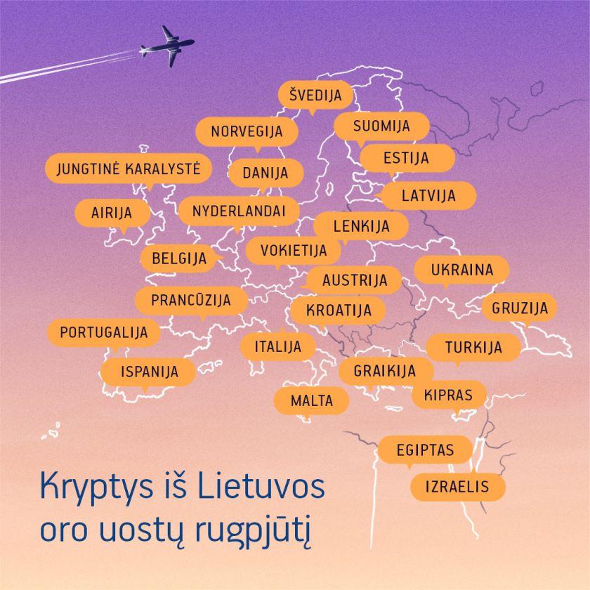 Lietuvos oro uostuose rugpjūtį toliau didėja tiesioginių maršrutų skaičius